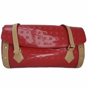 Arcadia red tan patent leather roll satchel